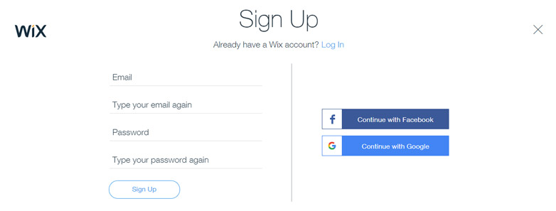 Wix Signup Page